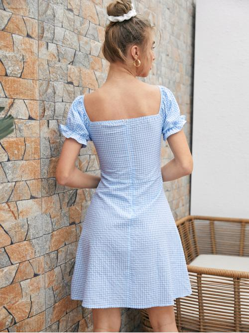 Fashion Baby Blue Gingham Ruched Bust Sweetheart Neckline Dress