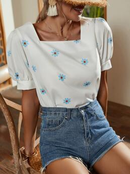 Short Sleeve Top Polyester Floral Flower Print Blouse Discount