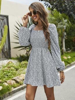 Womens White all over Print Shirred Square Neck Ditsy Floral Dress