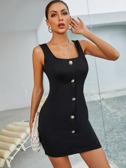 Shopping Black Plain Fake Buttons Scoop Neck Button Front Tank Dress Without Blazer