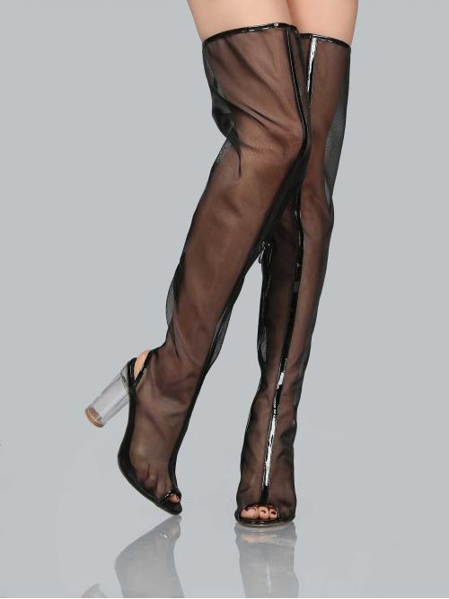Polyester Black Stretch Boots Embroidery Mesh Thigh High Perspex Boots on Sale