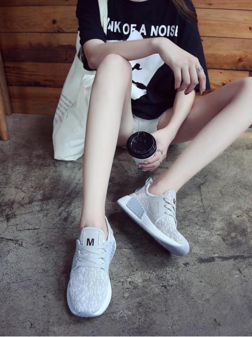 Affordable Corduroy Grey Running Shoes Bow Low Top Trainers