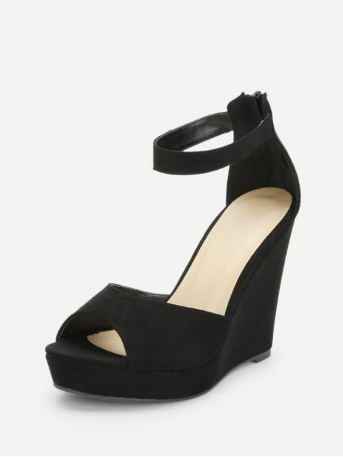 Ladies Corduroy Black Flatfrom Shoes Scallop Two Part Wedge Sandals