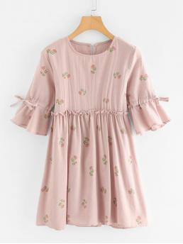 Cheap Pink Floral Bow Round Neck Frill Trim Babydoll Dress