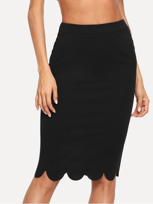 Discount Black Natural Waist Scallop Pencil Edge Hem Skirt