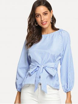 Casual Striped Top Regular Fit Round Neck Long Sleeve Pullovers Blue Regular Length Striped Knot Blouse