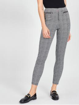 Casual Plaid Grey Cropped Length Zip Front Plaid Leggings