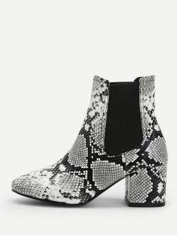 Chelsea Boots Point Toe Snakeskin Print Multicolor Chunky Snakeskin Pattern Ankle Boots
