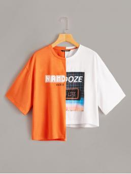Casual Colorblock and Graphic Asymmetrical Regular Fit Round Neck Short Sleeve Pullovers Multicolor Regular Length Mixed Print Two Tone Asymmetrical Neon Tee