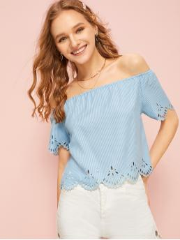 Casual Striped Top Regular Fit Off the Shoulder Short Sleeve Pullovers Blue Crop Length Laser Cut Off The Shoulder Striped Blouse
