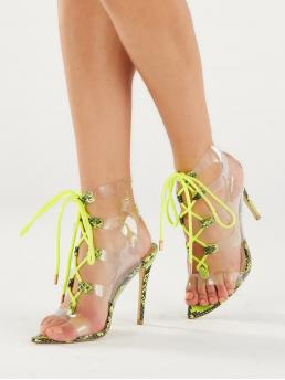 Glamorous Point Toe Snakeskin Print Criss Cross and Strappy Neon and Yellow and Bright High Heel Stiletto Pointy Sole Lace Up PVC Snakeskin Stiletto Heels