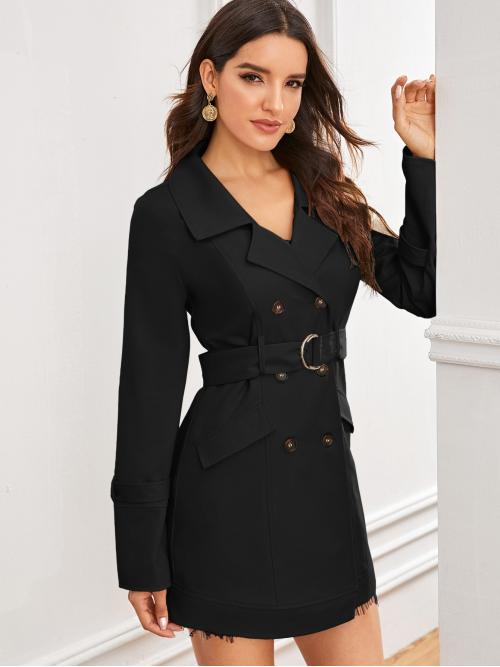 Elegant Trench Coat Plain Regular Fit Lapel Long Sleeve Regular Sleeve Double Breasted Black Short Length Notch Collar Double Breasted D-ring Belted Trench Coat with Belt