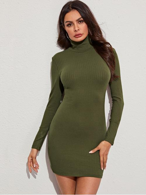 Elegant Bodycon Plain Pencil Slim Fit High Neck Long Sleeve Regular Sleeve Natural Army Green Short Length High Neck Rib-knit Bodycon Dress