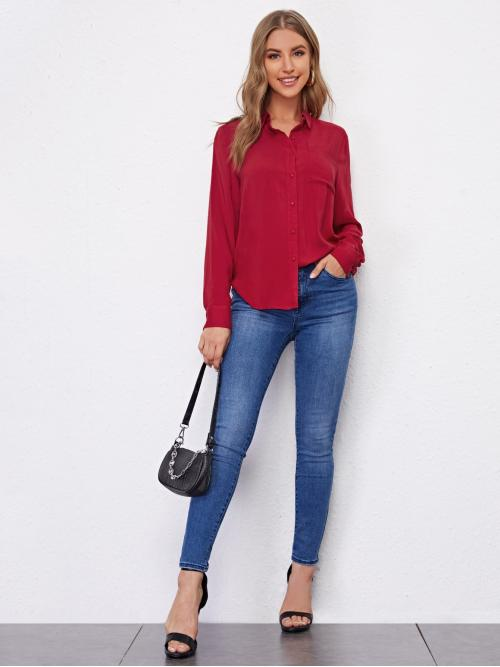Long Sleeve Shirt Button Front Rayon Pocket Patched Solid Blouse on Sale