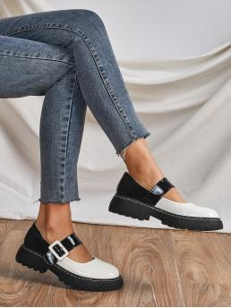 Black and White Low Heel Flatform Round Toe Patent Two Tone Shoes Trending now