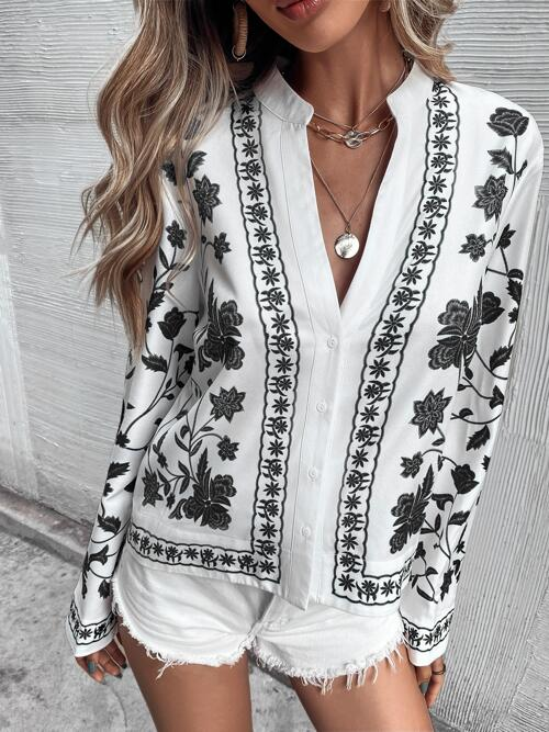 Long Sleeve Shirt Button Front Polyester Blouse Beautiful