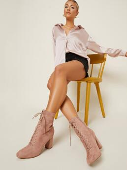 Affordable Dusty Pink Booties Lace up High Heel Faux Leather Ankle Booties