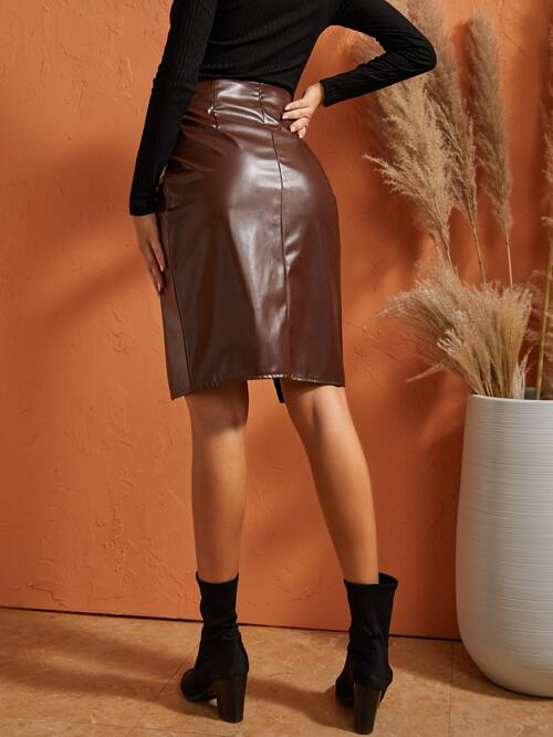 Shopping Coffee Brown High Waist Knot Wrap Sbetro Side Skirt
