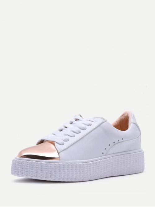 Women's Corduroy White Skate Shoes Studded Contrast Sole Sneakers