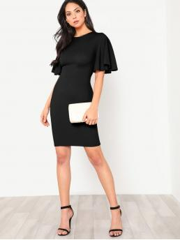 Pretty Black Plain Zipper Round Neck Flutter Sleeve Zip Back Pencil Dress