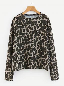 Casual Animal Regular Fit Round Neck Long Sleeve Pullovers Multicolor Regular Length Leopard Print Tee