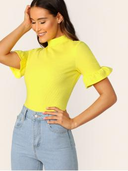 Elegant Plain Slim Fit Stand Collar Short Sleeve Flounce Sleeve Pullovers Yellow and Bright Regular Length Neon Yellow Mock-neck Ruffle Cuff Tee