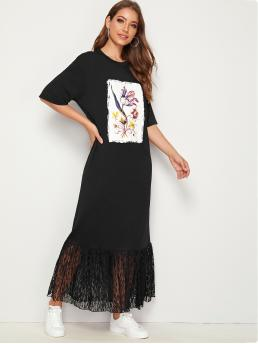 Casual Tee Shift Straight Round Neck Short Sleeve Black Maxi Length Picture Print Lace Ruffle Hem Dress
