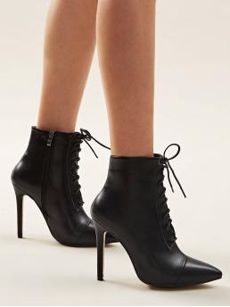 Glamorous Lace-up Boots Side zipper Black High Heel Stiletto Point Toe Lace-up Front Stiletto Boots