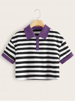 Short Sleeve Button Front Polyester Colorblock Striped Contrast Collar Shirt Fashion