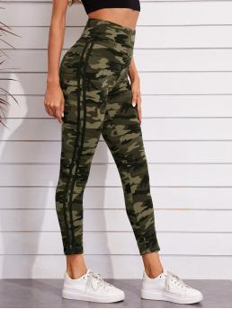 Cheap Multicolor Side Stripe Regular Camo High-rise Leggings