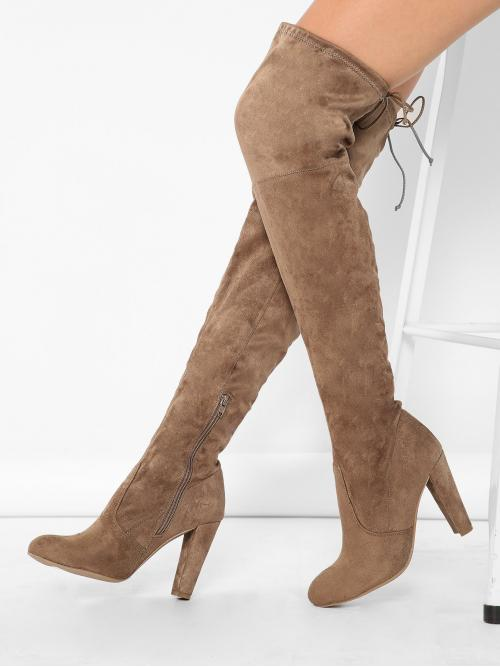 Corduroy Mocha Brown Stretch Boots Lace up Almond Toe Thigh High Boots Pretty