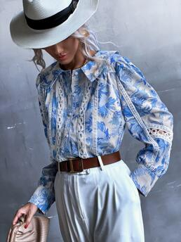 Long Sleeve Shirt Button Polyester Allover Lace Trimed Blouse Trending now