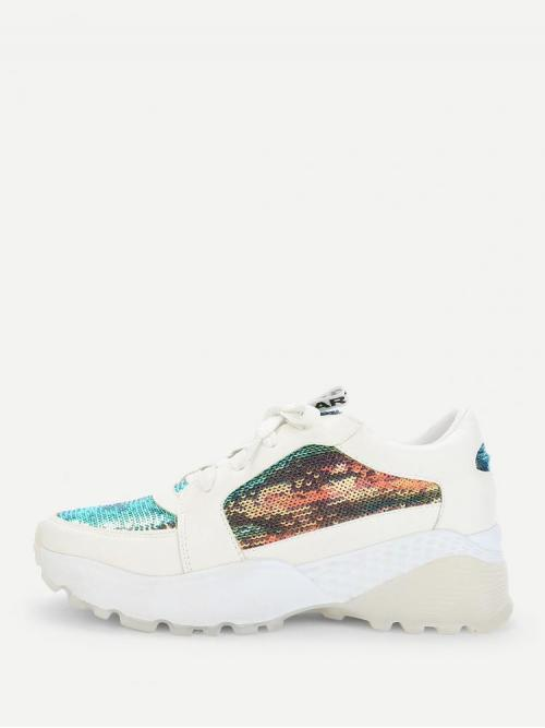 Shopping Corduroy Multicolor Chunky Trainers Contrast Sequin Sneakers