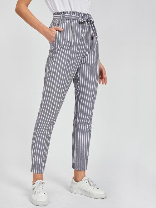 Casual Striped Tapered/Carrot Regular Elastic Waist High Waist Grey Cropped Length Striped Self Tie Waist Pants with Belt