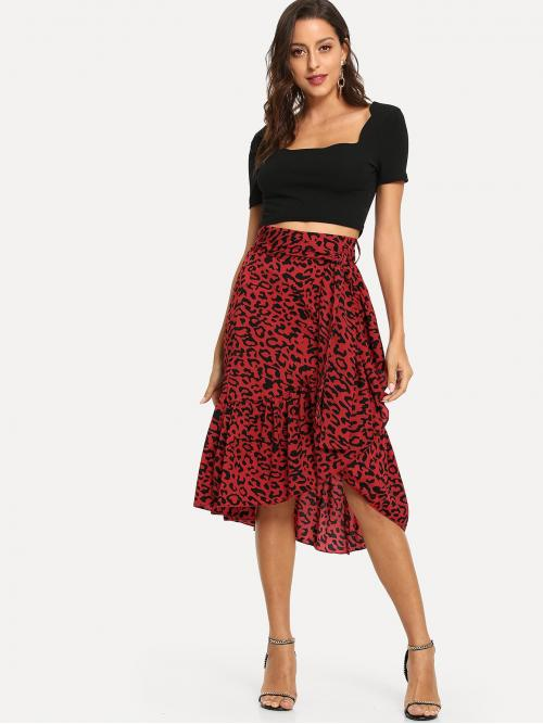 Casual Wrap Leopard Mid Waist Red Long/Full Length Leopard Asymmetrical Hem Belted Skirt with Belt