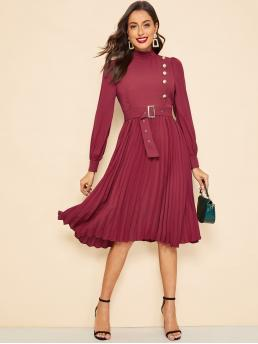 Vintage A Line Plain Flared Regular Fit Stand Collar Long Sleeve Regular Sleeve Natural Burgundy Midi Length Side Button Buckle Belt Pleated Dress with Belt