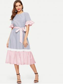 Casual A Line Colorblock Flounce Loose Round Neck Half Sleeve Flounce Sleeve Natural Blue Midi Length Ruffle Hem Colorblock Belted Striped Dress with Belt