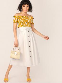 Boho A Line Plain High Waist White Midi Length Belted Paperbag Waist Button Detail Midi Skirt with Belt with Lining