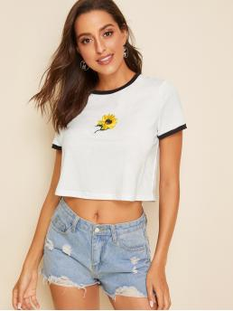 Casual Floral Regular Fit Round Neck Short Sleeve Pullovers White Crop Length Embroidered Sunflower Ringer Tee