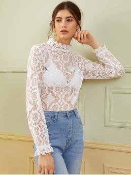 Sexy Plain Top Regular Fit Stand Collar Long Sleeve Flounce Sleeve Pullovers White Regular Length Scallop Edge Lace Top Without Bra