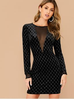 Glamorous and Sexy Bodycon Plaid Pencil Slim Fit Round Neck Long Sleeve High Waist Black Short Length Mesh Insert Rhinestone Detail Velvet Dress