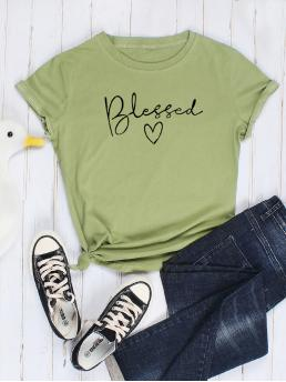 Casual Letter and Heart Regular Fit Round Neck Short Sleeve Regular Sleeve Pullovers Army Green Regular Length Heart & Letter Graphic Tee