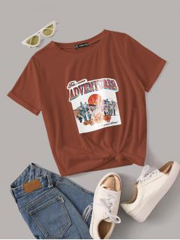 Casual Plants and Slogan Regular Fit Round Neck Short Sleeve Roll Up Sleeve Pullovers Brown Regular Length Letter & Plants Graphic Rolled Cuff Tee