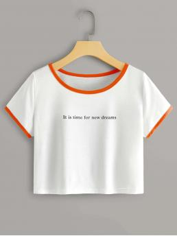 Short Sleeve Contrast Binding Polyester Slogan Graphic Ringer Tee on Sale