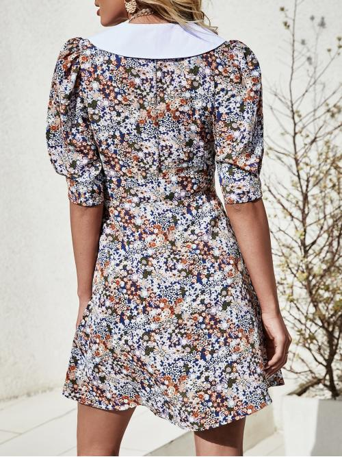 Sale Multicolor all over Print Button Peter Pan Collar all over Floral Print Dress