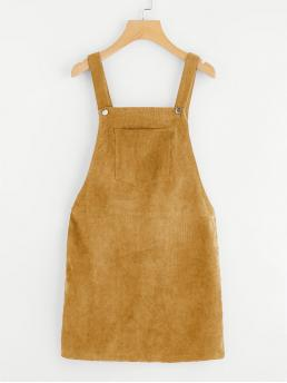 Preppy Pinafore Plain Straight Loose Straps Sleeveless Natural Yellow Short Length Pocket Front Overall Corduroy Dress