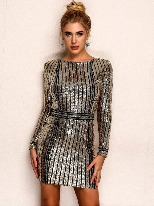 Trending now Gold Striped Zipper Round Neck Back Sequin Bodycon Dress