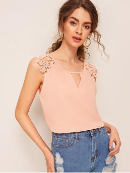 Casual Plain Top Regular Fit Keyhole Neckline Cap Sleeve Pullovers Pink Regular Length Contrast Lace Keyhole Front Blouse