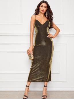 Glamorous Cami Sheath Slit Spaghetti Strap Sleeveless High Waist Gold Long Length Lace Up Backless Slit Hem Glitter Slip Dress with Chest Pad with Lining