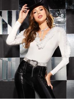 Glamorous Plain Slim Fit V neck Long Sleeve Regular Sleeve Pullovers White Regular Length Plunging Neck Ruffle Trim Fitted Top Without Choker